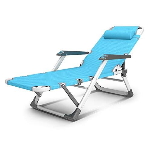 DUHUI Ajustable Silla Gravedad Cero, Tumbona Plegable Sillas Relax Reclinable Multiposiciones para Muebles Camping Terraza Playa Piscina Exterior, Rosa X400SY (Color : Blue)