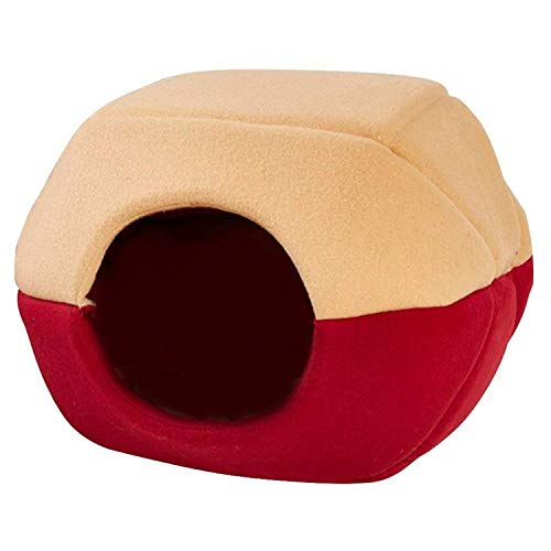 Practical Coral Fleece and Cotton Pet Bed Pet House Pet Bed Dog Cat Dome Pet House 2 Way Indoor Mat Attaches Khaki/Red/Blue,Red,S