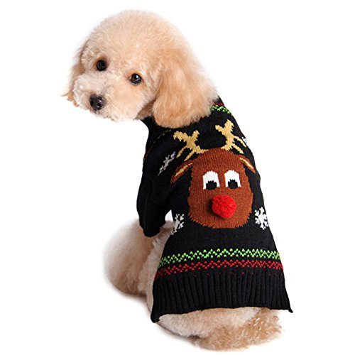 NACOCO Pet Holiday Festive Deer Reindeer Cat Sweater Dog Sweater Winter Clothing Teddy Poodle Autumn Winter Clothes Pet Clothes Dog Clothes (Medium)