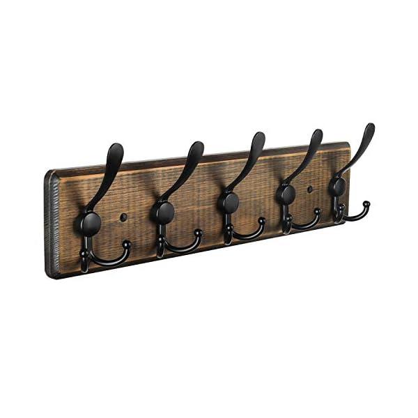 Wall Mounted Coat Rack, Entryway Hanging Coat Rack, Metal Wood Coat Rack with 5 Tir...