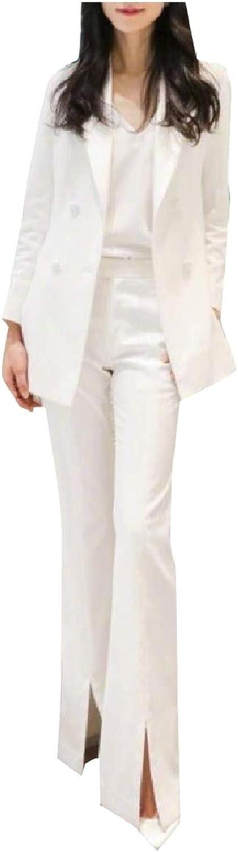 Doanpa Women Blazer Office Split Double Breasted 2 Pieces Outfits Suit