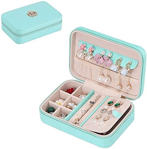 HKHJ Joyero compacto para mujeres y niñas, pequeño estuche organizador de joyas de viaje con perchas Compartimento extraíble para anillos, pendientes, collares, pulseras, pendientes