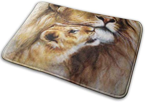 Door Mat Outside,Indoor Doormat Front Door Mat Non Slip Door Mats 24x16 Inch Realistic Canvas Airbrush Painting Loving Wild Lion Her Baby Cub Wildlife Dedicated