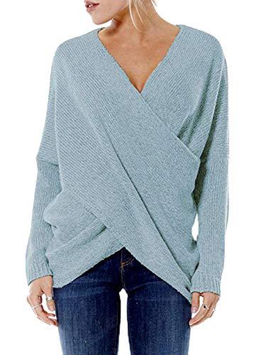 YOINS Jersey Punto Mujer Invierno Suéter Cuello en V Jerséis Manga Larga Camiseta Basico Suelto Cruzado Jerseys Camisa Tops Pull-Over Suéter Mujer Primavera Otoño Cielo Azul-Nuevo XL