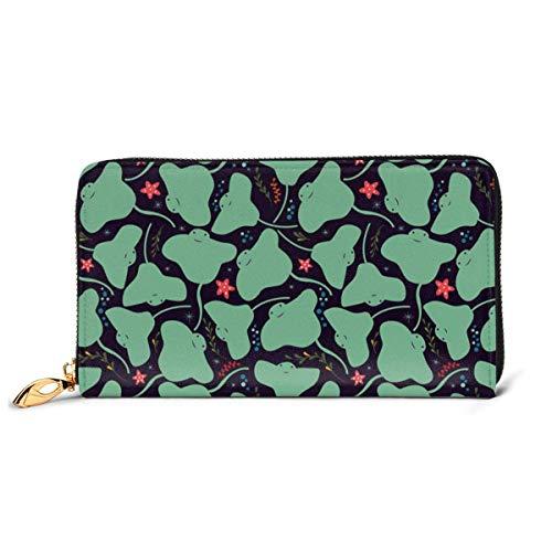 JHGFG Kawaii Sting Ray RFID-Blocking-Reißverschluss für Damen Brieftasche Echte Lederkupplung Langer Kartenhalter Organizer Wallets Große Reisetasche