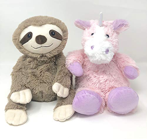 DIY Distributors Intelex My First Warmies Microwavable French Lavender Scented Plush, Sloth Bundled with Warmies Microwavable French Lavender Scented Plush, Unicorn Pink