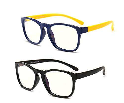 Anti Blue Light Glasses for Kids 2 Pack Computer Glasses,UV Protection Anti Glare Eyeglasses Computer Glasses Video Gaming Glasses Black Yellow