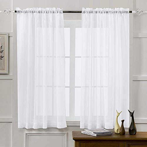 zsbdb5edvq Tulle Voile Window Curtain, Durable Semi Shading Solid Color Sheer, Balcony Hotel Living Room Valance Blackout Drape Gauze Privacy Decor Door Blinds, Size S M L XL XL