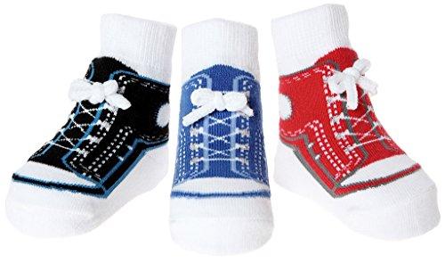 Baby Emporio 3 pares de calcetines para bebé niño - Suelas antideslizantes - Algodón suave - Con bolsita regalo - Efecto zapatillas - 0-12 meses