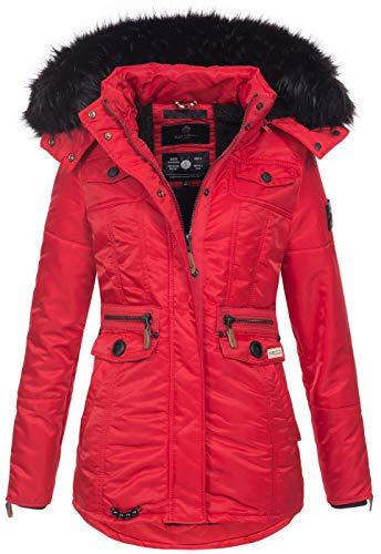 Navahoo Damen Winter Jacke Parka Teddyfell Winterjacke Kunstfell Mantel B615 [B615-Schatz-Rot-Gr.L]