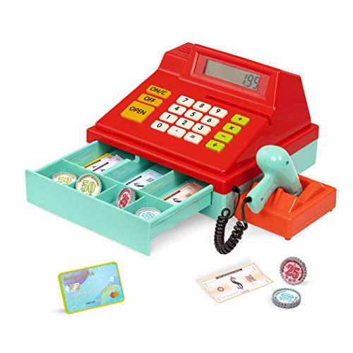 Battat – Toy Cash Register for Kids, Toddlers – 49pc Play Register with Toy Money, Credit Card, Scanner – Calculating Cash Register – 3 Years +