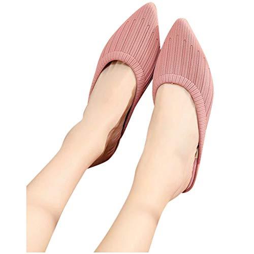 Damen Hausschuhe Spitze Mules Slipper Zehenkeile Eleganter Slip On Casual Shallow Sandalen, Pink, 38.5 EU