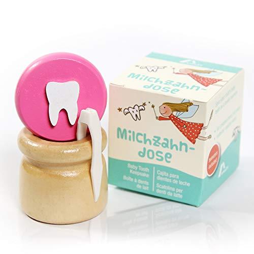 Amazy Caja para dientes de leche (Pequeña | Rosa) Incl. pinza y carta del Hada de los Dientes – Recipiente de madera para dientes de leche
