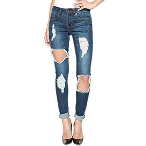 Women's Mid High Waist Dark Blue Wash Stretch Denim Skinny Jeans