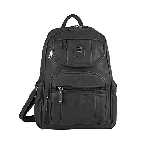 Damen Rucksack Tasche Cityrucksack Phoenix Stadtrucksack Backpack Schultertasche Organizer Tablet Ipad Mini bis ca. 10 Zoll (Schwarz V2)