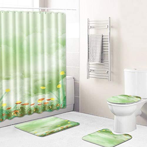 Moderne Minimalistische Textur Polyester Wasserdicht Duschvorhang Bad Toilette Fußmatten Bad rutschfeste Fußmatten Waschbar 4-Teiliges Set