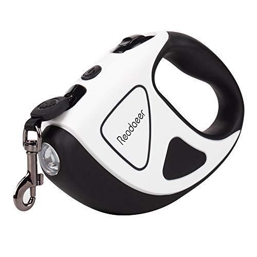 Reodoeer LED埋め込み式 犬リード 伸縮リード 犬用リード 自動巻き 反射光 夜間散歩 長さ5m 荷重50kg 小・中・大型犬対応 (ホワイト)…