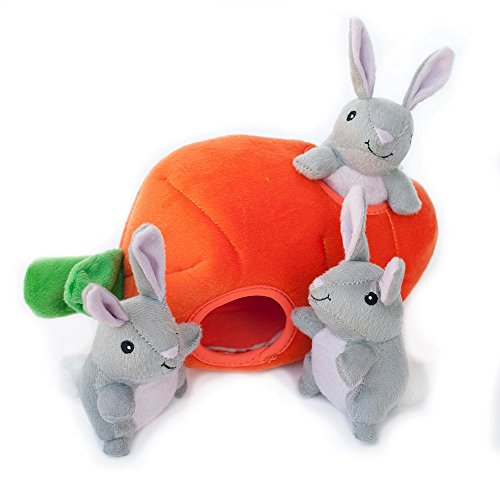 ZippyPaws - Farm Pals Burrow, Interactive Squeaky Hide and Seek Plush Dog Toy - Bunny 'n Carrot