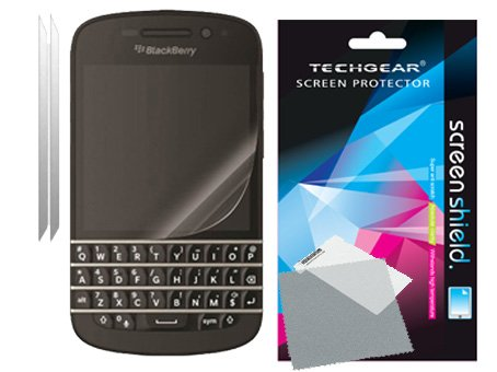 TECHGEAR [2 Stück Bildschirmschutz für BlackBerry Q10 - Ultra Klare Schutzfolie für BlackBerry Q10 mit Reinigungstuch + Applikationskarte