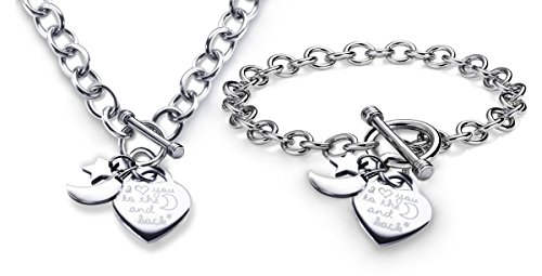 Charm Necklace and Bracelet Set I Love You to the Moon and Back Heart Toggle Stainless Steel