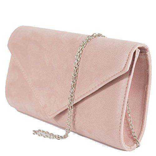 Pochette rosa donna elegante da cerimonia scamosciata Borsa a mano Clutch cipria borsetta ragazza da sera con tracolla in catena removibile Rosa