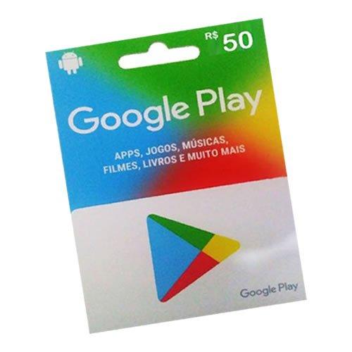 Cartão Google Play, $50 Reais, Pré-pago