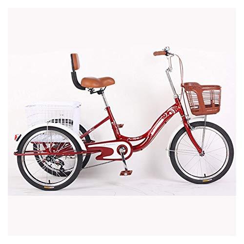 ZNND Bicicletas reclinadas Triciclo para Adultos 1 Velocidad 20 Pulgadas Trike 3 Ruedas con Cesta Bicicleta para Mujeres Hombres para Compras O Bolsa A Prueba Polvo para Perros