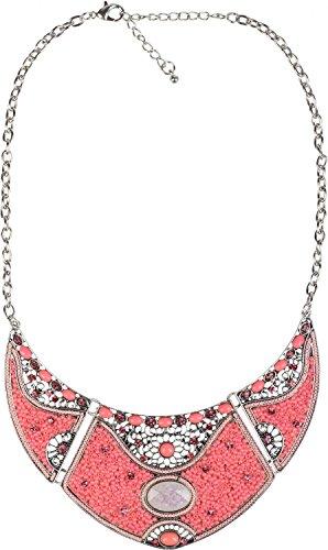 styleBREAKER Halskette Statement Kette, Perlen und Strass besetzt, Ornamente, 3 teilig, Damen 05030015, Farbe:Koralle