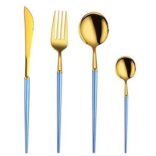 Set di 24 Posate, Coltello Forchetta Cucchiaio Cucchiaio da caffè Set da tavola in Acciaio Inossidabile 304-Manico Blu Oro Ideale per Viaggi, Pranzo e Campeggio
