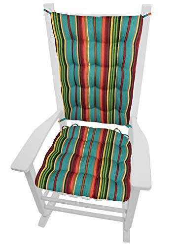Barnett Home Decor Serape Stripe Rocking Chair Cushions with Ties - Extra-Large - Latex Foam Fill Cushion - Santa Fe Décor (Turquoise Poncho Stripes)