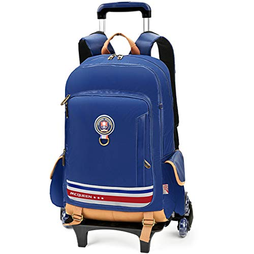 LHY EQUIPMENT Front Opening Trolley Backpack Detachable Trolley Rolling Bag with Rain Cover And Reflective Strip Large Capacity Wheeled Backpack Can Climb Stairs