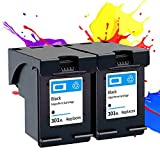 PLOKN Cartuchos de Tinta compatibles 301xl para HP Envy 4500 4501 4502 4503 4504 4505 4507 4508 4509 5530 5531 5532 5534 5535 5539, Alta Capacidad Black+Black