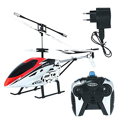 LUCHILA Metal Body Flying Electronic Radio RC Remote Control Toy Charging Helicopter Toys Light for Boys Kids with Unbreakable Blades