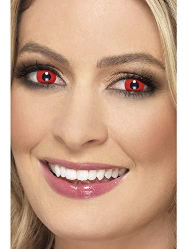 Halloweenia - Damen Herren Kontaktlinsen Party Linsen Teufel Devil Dämon, Kostüm Accessoires Zubehör, perfekt für Halloween Karneval und Fasching, Rot