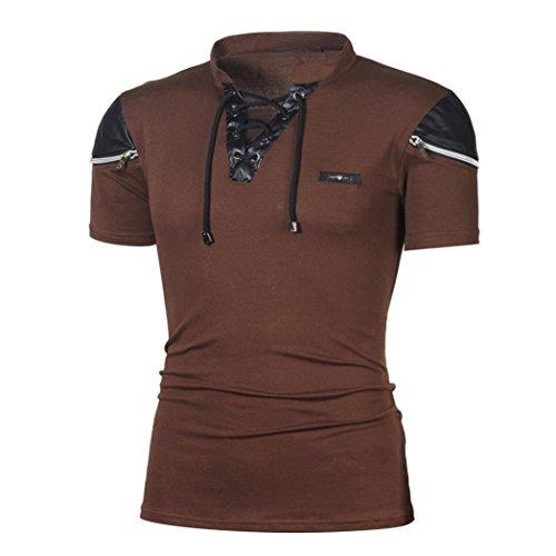VEMOW Sommer Mode Persönlichkeit männer Tägliche Casual Sport Business Dünne Patchwork Kurzarm T-Shirt Top Bluse Pullover Tees Pulli (Kaffee, 50 DE/M CN)