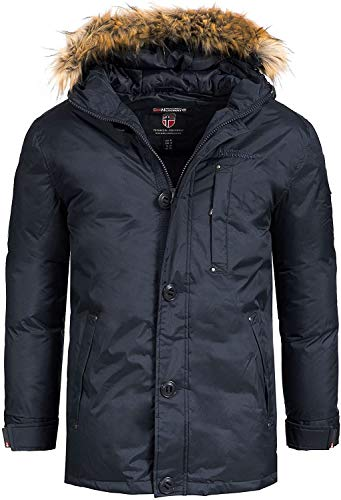 Geographical Norway Herren Parka Agada Men Outdoor Winterparka (L, Dunkelblau (Navy))