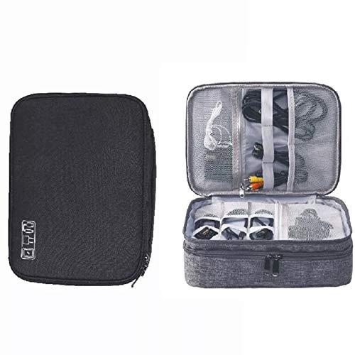 DY_Jin Accesorios electrónicos Bolsa Organizador de Cable de Viaje de Tres Capas para iPad Mini, Kindle, Discos Duros, Cables, Cargadores (Black)