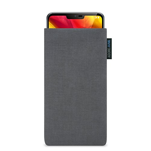 Adore June Classic Dunkelgrau Tasche für LG G7 ThinQ & LG G7 One Handytasche aus beständigem Cordura Stoff   Robustes Zubehör mit Bildschirm Reinigungs-Effekt   Made in Europe