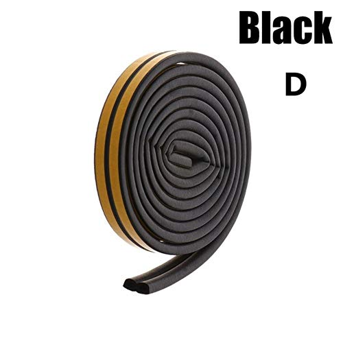 5 / 10M D/E/P/I Type Schuim Weer Tocht Excluder Zelfklevende Raam Deurafdichting Strip Raamaccessoires Afstoffen Afdichtband, Zwart-D Type, 10M