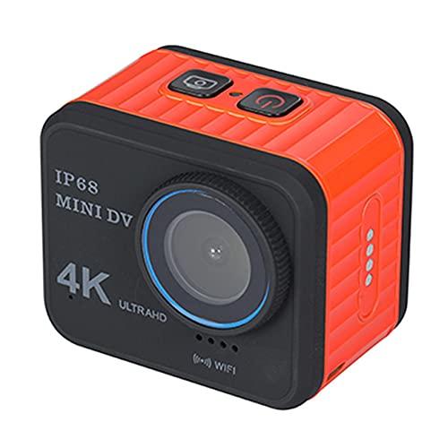 Cámara Deportiva 4K WiFi 20MP/60FPS Ultra HD Cámara Acción Sumergible 10M Camaras Acuática con Zoom 4x EIS 170° Gran Angular Pantalla con Pantalla y kit de accesorios(Size:And 128G Card,Color:naranja)