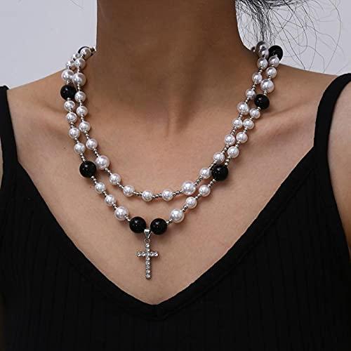 Focisa Collar Colgante Cadena Collares Hombre Mujer Collar De Moda Multicapa Brillante con Colgante De Cruz De Diamantes De Imitación, Collar De Perlas De Imitación De Acrílico, Cuentas B