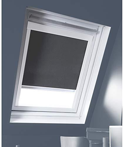 madecostore Store Enrouleur Occultant Cadre Blanc Compatible VELUX® - 97 x 116cm - S08 - Gris Anthracite
