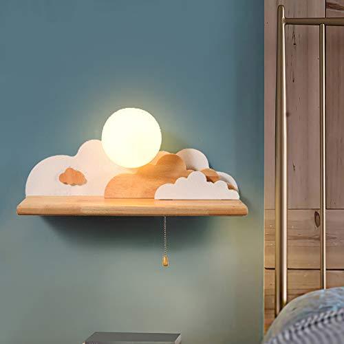 Hölzern Kinder Wolkenform Wandlampe, Mit Zugschalter Nachtlampe Kreative Wandleuchte, Sphärisch Milchglas Lampenschirm Dekoleuchte, Für Kinderzimmer Schlafzimmer Wohnzimmer Flur,Warm white light~7w
