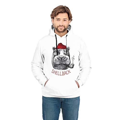 CUCIN-hoodie Nilpaard roken tekening nieuwigheid trui sweatshirt mantel met trekkoord zakken voor tieners Nilpaard