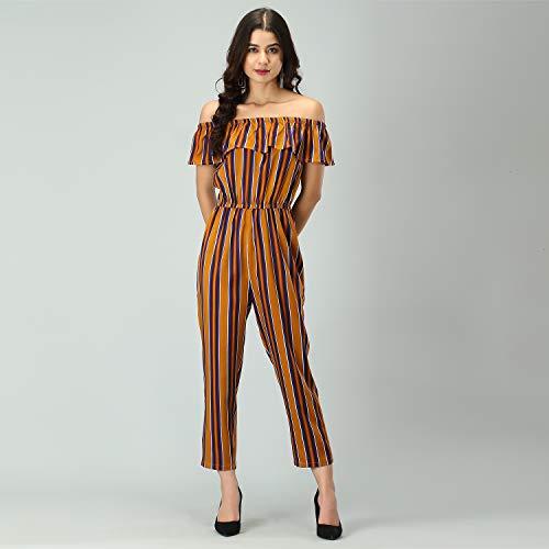 ROZVEH Women's Off-Shoulder Elastic Waist Ruffles Striped Jumpsuit
