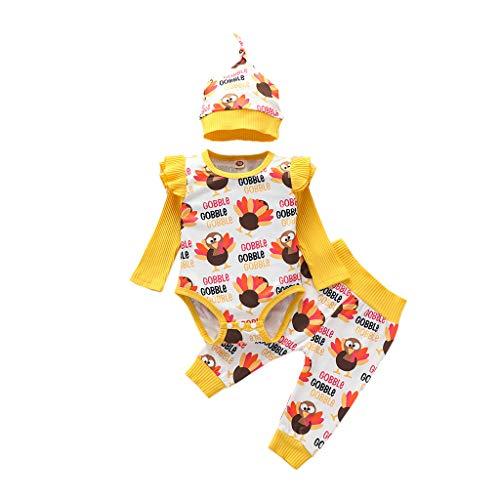Webla Ropa de Niños Bebé - Recién nacido Bebé Niña Niño Acción de Gracias Turquía Mameluco Pantalones Sombrero Cap Trajes