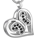 ASFDSA Colgante Cenizas Cenizas Caja Caja Funeraria Crystal Butterfly On Heart Cremation Ashes Urn Neklace para Mujer-Venta Al por Mayor Cremation Jewelry-3