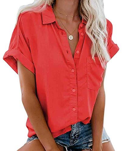 MallFancy Damen Bluse Kurzarm Reverskragen Shirt Sommer Hemdbluse Einfarbig Knopfleiste Blusen Oberteile Tops mit Taschen(Rot,M)