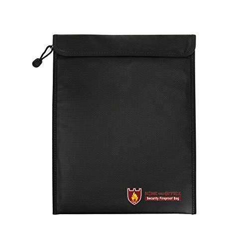 TsunNee Bolsa de documentos ignífuga, resistente al agua, bolsa de seguridad Lipo bolsa de seguridad contra incendios, 38 x 28 cm, color negro
