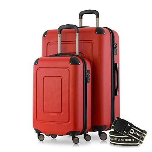 Happy Trolley - 2er Koffer-Set Trolley-Set Rollkoffer Hartschalen-Koffer Reisekoffer Lugano sehr leicht, TSA, (S+XL), Rot +Gepäckgurt